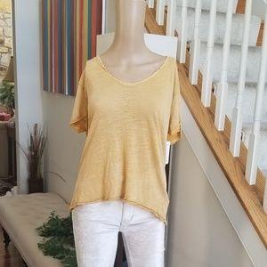 Free People Crochet-Trim T-Shirt Mustard L